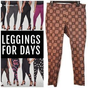 Torrid Black & Pink Print Full Length Leggings